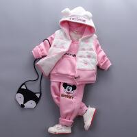 2018新款童装冬装女童宝宝套装小童儿童卫衣女童婴幼儿加厚三件套