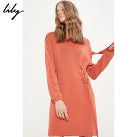 Lily2018春新款女装朱砂桔绑带连衣裙长袖圆领连衣裙118129B7912