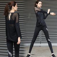 瑜伽服秋冬套装女显瘦运动健身服跑步宽松透气三件套瑜珈服 黑色上衣+文胸+长裤三件套