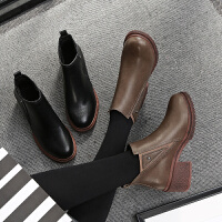 毅雅2017秋冬新款短靴女靴子粗跟高跟靴子短筒女鞋子方跟踝靴