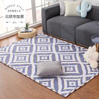 北欧简约现代客厅沙发茶几地毯卧室床边满铺家用房间黑白格子菱形