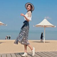 一片式系带半身裙女夏2018新款高腰中长款不规则裹裙港味蕾丝长裙