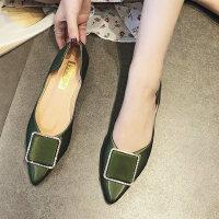 户外平底尖头单鞋女韩版百搭浅口休闲一脚蹬水钻仙女鞋子