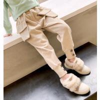 女童加绒裤子中大童灯芯绒工装裤冬装长裤儿童保暖裤