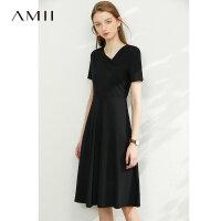 Amii法式赫本气质黑色连衣裙女2021新款V领小腰精夏季显瘦a字裙子\预售8月2日发货