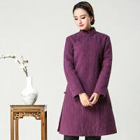 唐装女中式女装外套冬装棉袄复古长袖茶服盘扣旗袍上衣