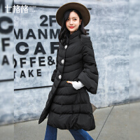 中长款羽绒服女2017秋冬装新款韩版潮百搭优雅复古过膝宽松外套厚