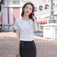 【产地直销,小二推荐】职业装短袖白衬衫寸衫女设计感小众雪纺上衣女夏套头半袖