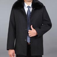 中老年加绒男士秋冬外套中长款爸爸装风衣毛呢加厚大码潮呢子大衣 带毛领加厚黑色 0