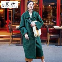 夏妆原创复古衬肤白超长款西装领羊毛大衣宽松廓形插肩袖过膝毛呢外套
