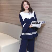 2018春季新款家居服女士睡衣长袖纯棉可爱大码套装一 藏蓝色
