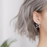 五角星几何珍珠耳钉女银时尚气质韩国个性百搭潮人耳环 耳环一对