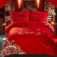 婚庆四件套大红结婚床上用品加厚磨毛被套龙凤