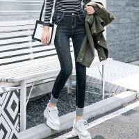Freefeel 2018秋冬新款牛仔裤女装裤子高弹小脚九分裤学生裤WD8823