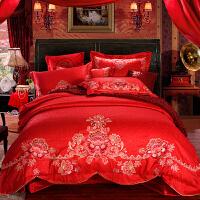 �_�m家�床上用品四六件套婚�c大�t色�Y婚用�C花被套床��