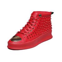 高帮皮鞋男马丁靴潮流红色短靴男士休闲板鞋厚底增高柳钉休闲鞋男