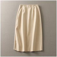 春季新品显瘦长裙包臀高腰纯色呢子半身裙女22744