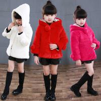 女宝外套夹棉新款2-3-岁女宝宝冬装毛绒大衣小童大童上衣潮