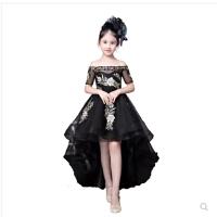 儿童公主裙女童蓬蓬纱模特走秀主持人拖尾黑色钢琴演出服晚礼服夏