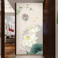 荷花玄关墙画贴纸墙壁装饰自粘墙纸贴画客厅卧室房间墙上温馨墙贴 荷花 特大