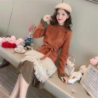 秋冬新款韩版绑带荷叶边拼接毛呢连衣裙女装中长款打底裙