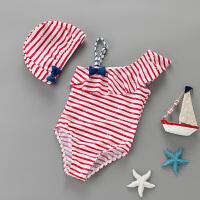 儿童泳衣女孩连体条纹游泳衣宝宝女童婴儿可爱度假温泉泳装