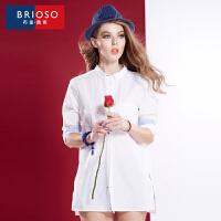 BRIOSO 2018春装新款女式白衬衫女装男朋友白衬衣 衬衫 长袖纯棉性感职业装上衣 WE19195