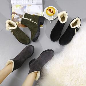 2017秋冬季新款短靴加绒女靴子百搭平底内增高女鞋厚底短筒马丁靴