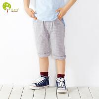 【当当自营】贝康馨童装 儿童小方格中裤 纯棉韩版男童中裤夏季新款
