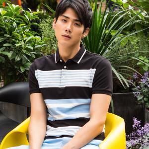 与狼共舞短袖T恤 2017夏季新款纯棉男士条纹POLO衫男青年6685