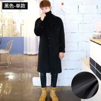 2018秋季新款冬季韩版毛呢大衣男士中长款宽松落肩过膝羊绒呢子英伦风外套风衣