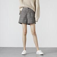 [2.5折价68.9元】唐狮2019冬新款休闲短裤女韩版宽松格子短裤