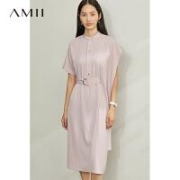 Amii极简女神款知性连衣裙春新款宽松配腰带不规则条纹女裙