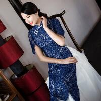 2017改良立领中国风复古修身礼服蕾丝越南奥黛旗袍 外衫