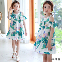 韩国童装女童露肩连衣裙夏季甜美韩版公主裙中大儿童碎花沙滩裙子