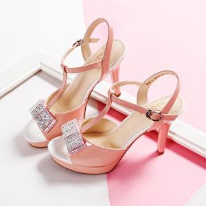 【毅雅】女鞋夏季新款甜美风蝴蝶结细高跟露趾百搭潮一字扣女凉鞋 YL5PP4226