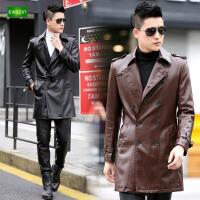 逸纯印品(EASZin)皮风衣 男士中长款双排扣西装领仿真皮皮衣 皮大衣 皮装外套