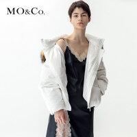 MOCO新款连帽白鸭绒超大毛领羽绒服短款面包服MT183EIN103 摩安珂