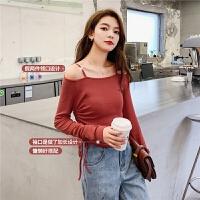 七格格假两件T恤2020春季新款女长袖时尚洋气韩版修身一字肩上衣