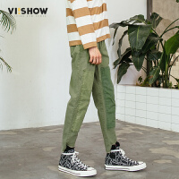 VIISHOW2018春季新款休闲裤男 拼接男士军绿色潮牌下装潮牌裤子