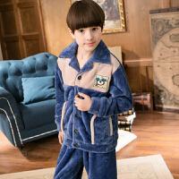 中大童家居服套装秋冬季儿童睡衣男童法兰绒珊瑚绒厚款小孩男孩