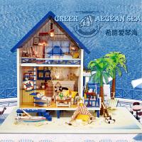儿童diy小屋爱琴海手工别墅拼装模型房子生日礼物