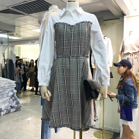 韩国ulzzang2018春装新款修身POLO领拼接格子A字裙女毛边连衣裙潮