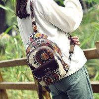 韩版涂鸦双肩包女户外复古休闲女士背包棉麻旅行女布包民族风百搭书包