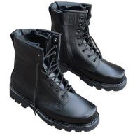 AOTU 防暴军靴男高帮靴子真皮牛皮男靴工装靴作战靴 黑色钢头钢底单靴