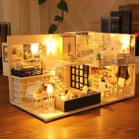 3d立体拼图木质模型女孩玩具屋房子手工制作DIY小屋儿童新年礼物