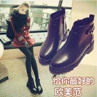 欧洲站女靴子欧美秋冬新款粗跟中跟短靴短筒圆头裸靴马丁靴女 黑色