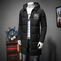 冬季大码男装中长款加肥加大号羽绒品牌连帽棉衣加厚棉袄外套 黑色 X