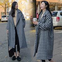 秋冬中长款茧型千鸟格大衣韩国chic宽松加厚长袖翻领毛呢外套女潮