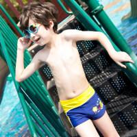 儿童泳裤男童平角游泳裤小宝宝中大童男孩速干游泳衣学生泳装 藏蓝底亮黄